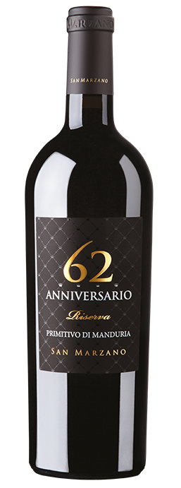 Vino rosso Anniversario 62 Primitivo di Manduria Riserva
