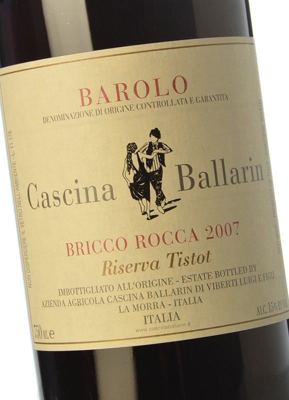Vino rosso Barolo Bricco Rocca Riserva Tistot 2007